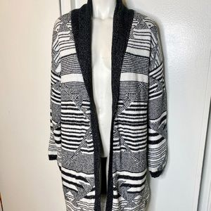 Merona Black Cream Boho Cardigan Sweater L